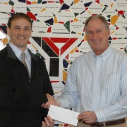 Dan Wyman, right, employee benefits manager at Allen Insurance and Financial, pictured here with Troy Curtis, Executive Director at the Penobscot Bay YMCA.