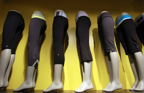 A line of sweatpants is displayed at Lululemon at a store at the South Coast Plaza in Costa Mesa as seen June 19, 2011. Lululemon Athletica Inc. announced it would be recalling thousands of black yoga pants from store shelves because of a manufacturing defect.