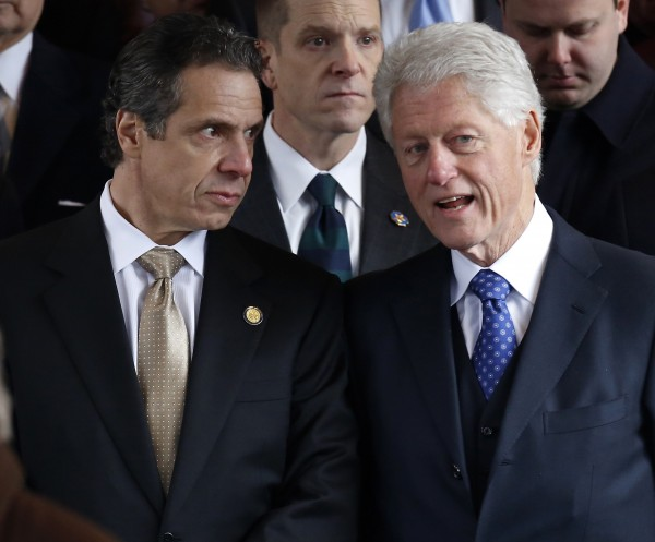 New York Gov. Andrew Cuomo and former President Bill Clinton talk after the funeral service for former New York City mayor Ed Koch in New York last month.