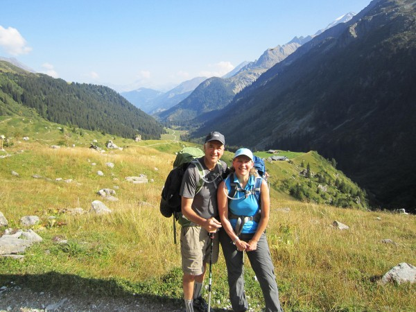 Lynn Boulger and Tim Garrity pause on their journey around the massive mountain.