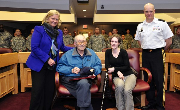 U.S. Rep. Chellie Pingree participated in honoring Linwood Butterfield on March 28, at Camp Keyes in Augusta, a Maine WWII veterans who served as a gunner in the U.S. Navy Armed Guard. They are pictured here with his granddaughter Tracy and Maine Adjutant General James Campbell.