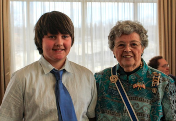 Connor Simmons, fifth grader from Friendship, and Maine State DAR Regent Virginia Spiller.  Connor was honored on March 16 at the State DAR Conference for his winning essay about forgotten patriots of the American Revolution.