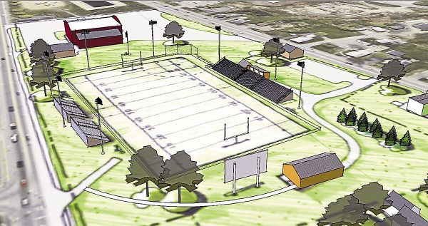 Concept art of what the renovated Doyle Field might look like.
