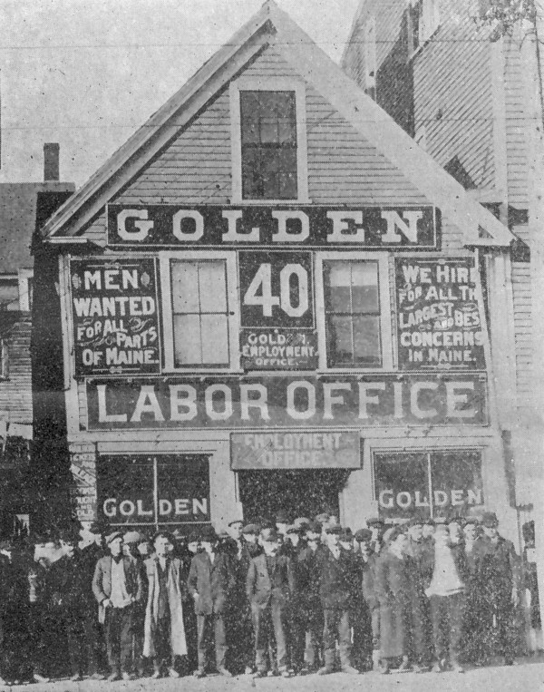 Golden's Employment Agency was a popular spot for jobless men.