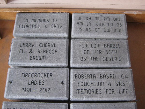 Pictured are samples of some of the pavers that have been ordered for the &quotSidewalk of Memories & History&quot.  Engraving and pavers being set into the sidewalk is being done by Weininger Monumental Works.