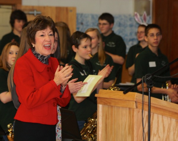 Senator Susan Collins with students at Leonard Middle School in Old Town.