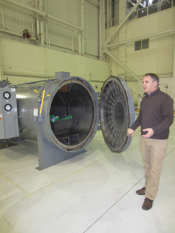 Kestrel Aeroworks co-founder Adrian Norris describes the company's new autoclave as &quota pressure-cooker for curing the composite parts&quot used to build its new, turboprop plane.