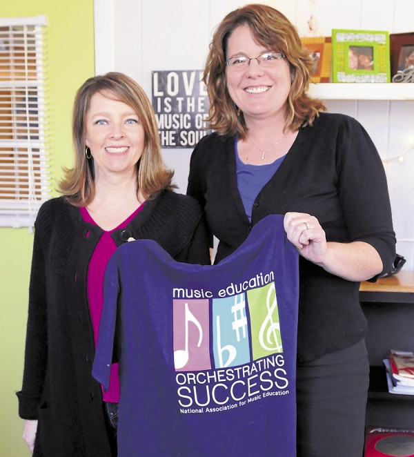 Lynn Thibeau (left) and Becky Mallory (right) are private music teachers in Bangor. Mallory also teaches at Reeds Brook Middle School in Hampden. Their businesses help to enhance the skills of music students throughout the area. They will be supporting music in our schools this month.