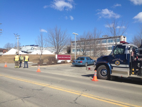 Police converge on the campus of Kennebec Community College in Fairfield on Tuesday in response to a bomb threat.