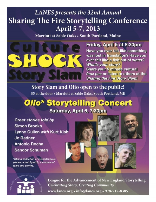 Concerts Offered at the 32nd annual Sharing the Fire Storytelling Conference include a Fri Story Slam competition and a Sat Olio Performance by a collection of New England's finest Storytelling Performers for grown ups.