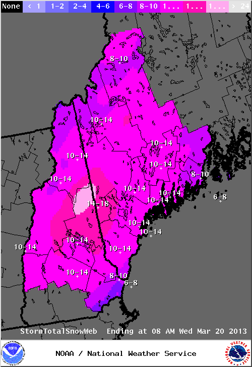 Expected snowfall on Tuesday, March 19, 2013.