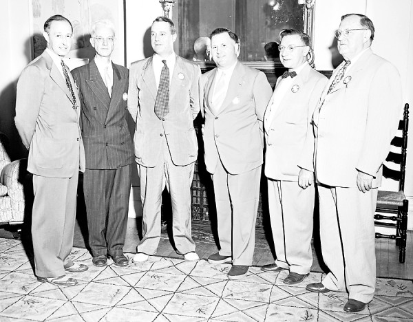 PICTURE FROM THE PAST Shown above are the newly installed officers of the Bangor Rotary club in early July 1951. From left to right are: Alan H. Waterman, director; Alden Head, secretary; E. Richard Drummond, president; Herschel E. Peabody, director and outgoing president; Dr. Carl W. Maxfield, director; and Ballard F. Keith, director. George B. Bryant, the vice president, was not present when the picture was taken.