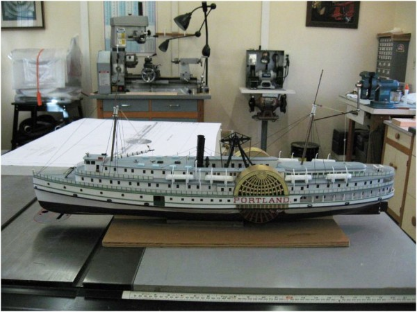 Model of the Portland under construction by Camden shipmodeler Gil Carlson.