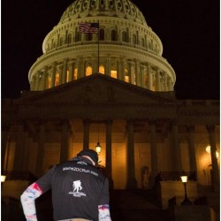 Gary Allen finishes his run at the US capitol building.