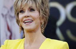 Actress Jane Fonda, arriving at the 85th Academy Awards in Hollywood, Calif., on Feb. 24, 2013, says happiness came as a surprise as she approached 70.