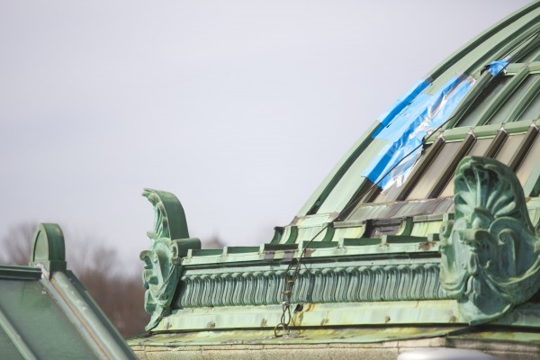 A tarp on the dome of the Bangor Public Library keeps out the elements on the dilapidated roof. The Bangor Public Library needs $3 million to replace the copper roof on the building. The current roof has outlived its use and is causing water damage in parts of the building.