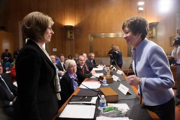 Senator Susan Collins greets Kim Nichols of Hermon prior to a Senate hearing in Washington, D.C. on Wednesday, March 13, 2013.