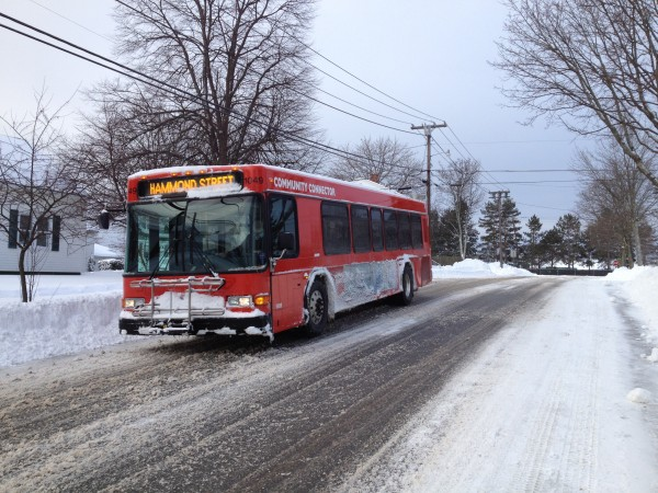 The Hammond Street Bangor Area Transportation bus travels on Third Street Wednesday morning in Bangor after a March storm dropped more than a foot of snow.