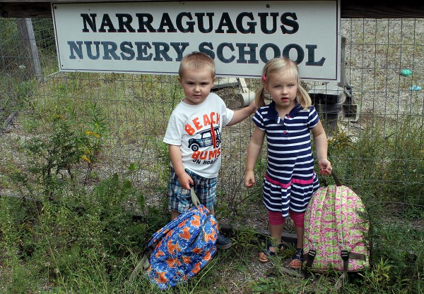 Collin Emerson and Madelyn Chipman on their first day at Narraguagus Nursery School this past September.