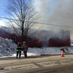 Fire destroys log cabin in Corinna