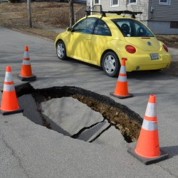 2nd sinkhole in three months opens up on Rockland road