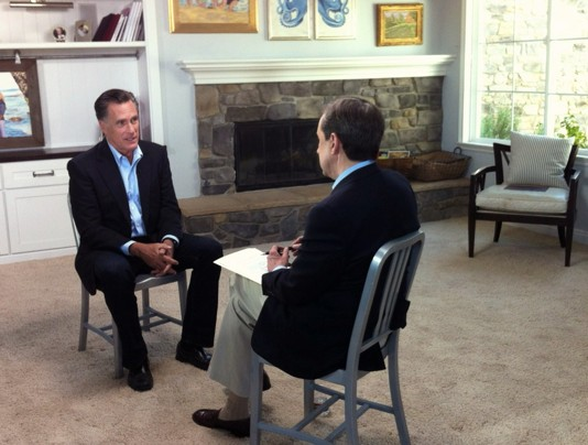 Former Republican presidential candidate Mitt Romney (L) speaks with FOX News Sunday's Chris Wallace at his son's home in San Diego, Calif., for his first post-election interview.