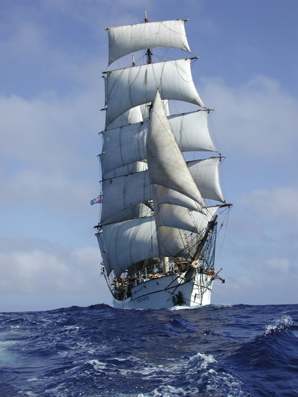 The Picton Castle, a three-masted barque based in Lunenberg, Nova Scotia and in the Cook Islands.