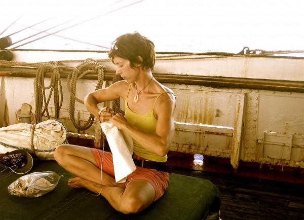 University of Maine professor Kirsten Jacobson doing some daily chores aboard the Picton Castle, currently sailing through the South Pacific.