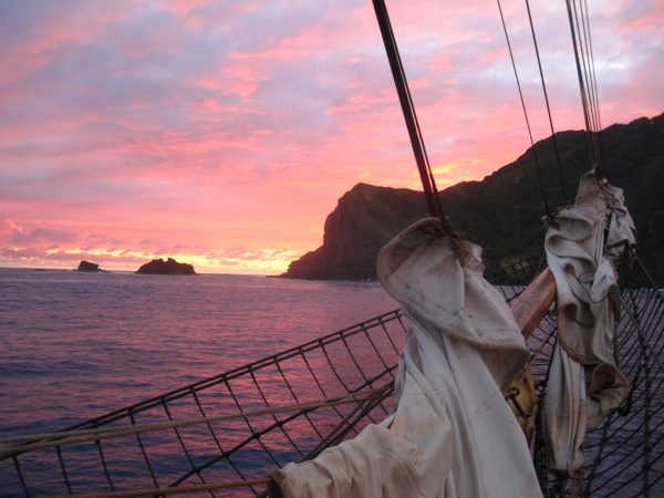 A view of a South Pacific sunset, while on board the tall ship the Picton Castle.