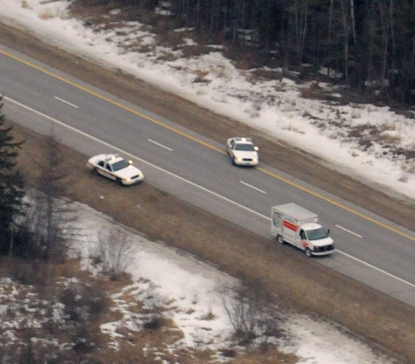 Police stopped a U-Haul van in the southbound lane of Interstate 95 about four miles south of the Lincoln exit on Monday afternoon. The interstate was closed in both directions for a period of time.