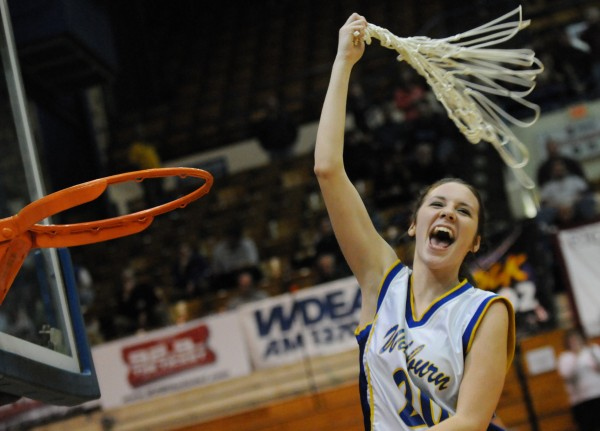 Washburn's Olivia Doody celebrates the Washburn Beavers victory over Richmond 75-55 during class D state championship action on Saturday at the Bangor Auditorium.