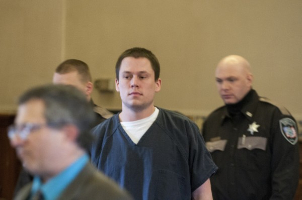 Daniel Porter enters the Waldo County Courthouse on Wednesday, April 4, 2013 to plead guilty on manslaughter.