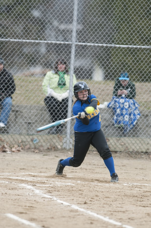 Hermon's Ky Kennedy swings at a pitch against Old Town on Tuesday, April 23, 2013.