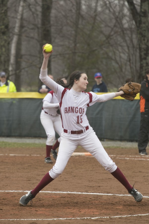 Bangor's Skylar Cassum winds up a pitch against Brewer on Wednesday, April 24, 2013.