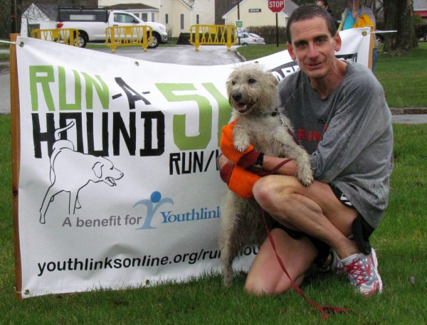 (Photo courtesy of Adrienne Randall)  Eric Morse of Berlin, VT and his terrier, Murdock, took first place.