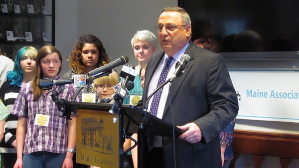 Maine Gov. Paul LePage speaks in favor of charter schools during a news conference in the State House on April 1, 2013.