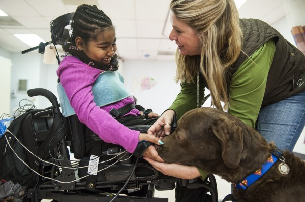 Asheauna Pryor, 8, gives a treat to Lewis, the Chesapeake Bay retriever who is helping her recover from surgery at the Kennedy Kreiger Institute in Baltimore. Lending assistance is Amy Wernecke, Lewis' owner and handler.