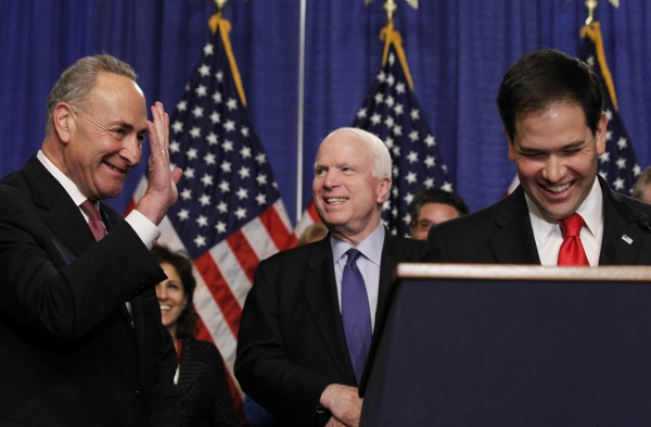 Members of the U.S. Senate's &quotGang on Eight,&quot Chuck Schumer, D-N.Y., John McCain, R-Ariz., and Marco Rubio, R-Fla., from left, appear at a news briefing on Capitol Hill in Washington, April 18, 2013.