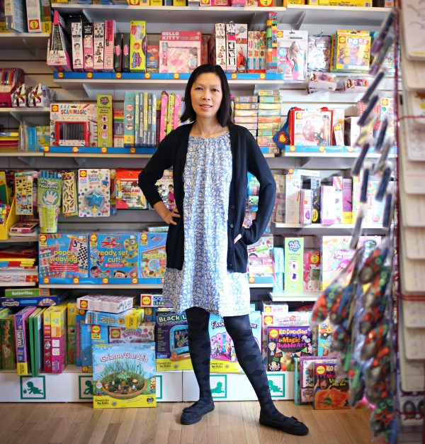Katherine McHenry, owner of Building Blocks Toy Stores in Chicago, says people try to use online prices to bargain with her, but she says she must charge sales tax.