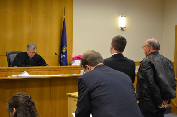 Horace Barstow (right) did not enter a plea to Judge Robert Mullen in Skowhegan District Court on Wednesday. Barstow is charged with three counts of Class B unlawful sexual contact with children under the age of 12.