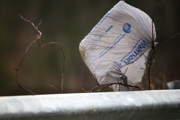 A plastic shopping bag, of of thousands littering the landscape at the Bath municipal landfill, flaps in the breeze. The bags are difficult to keep in place. They are also difficult to recycle.