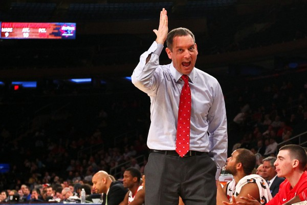 Rutgers men's basketball head coach Mike Rice reacts during a game against DePaul at the Big East tournament last month. Rice has been fired after videos surfaced showing him abusing his players during practice.