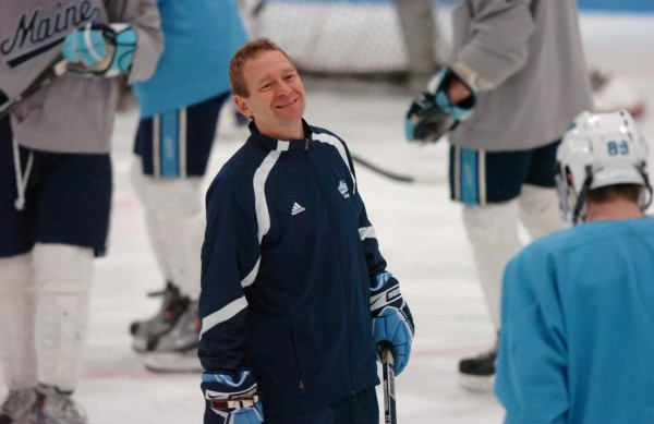 University of Maine coach Tim Whitehead talks to Gustav Nyquist of Sweden during a Wednesday practice at Alfond Arena in Orono.