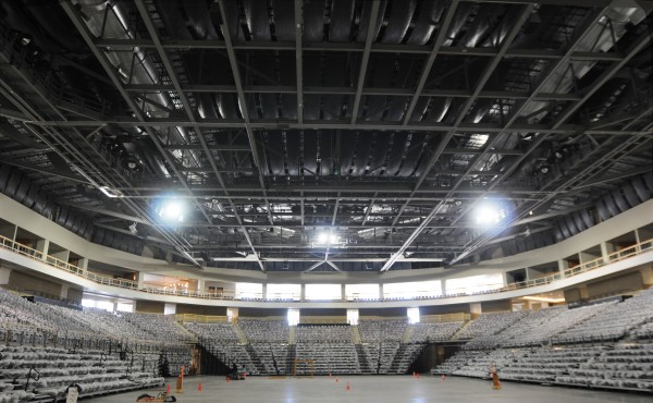 Plastic covered seats fill the inside of the Cross Insurance Center in Bangor on Friday, as seen from the stage area looking westward. Cleaning crews were in the building Friday cleaning up from construction dust.
