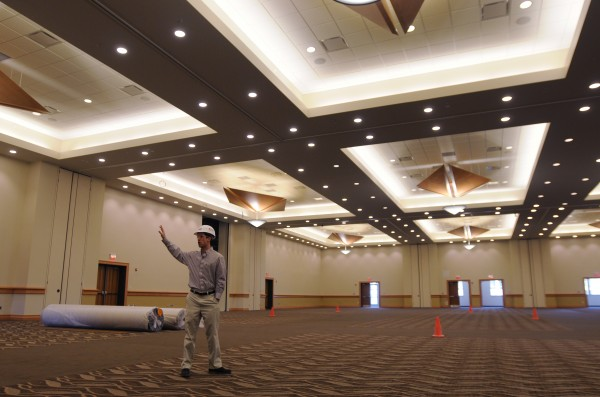 Assistant General Manager Todd Stoudenmire shows off the grand ballroom at the Cross Insurance Center in Bangor on Friday.
