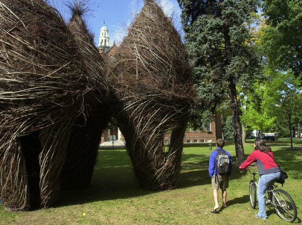 Bowdoin College students pause to take in the twig sculptures created by North Carolina artist Patrick Dougherty.