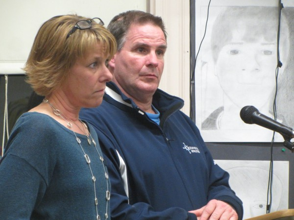 Angela Vachon (left), who coaches the Oceanside High School girls lacrosse team, and RSU 13 Athletic Director James Leonard address the school board Thursday night about adding lacrosse as a varsity sport for spring 2014. The board voted for the addition.