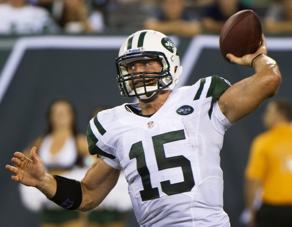 New York Jets quarterback Tim Tebow passes against the Carolina Panthers in a pre-season NFL football game in 2012.