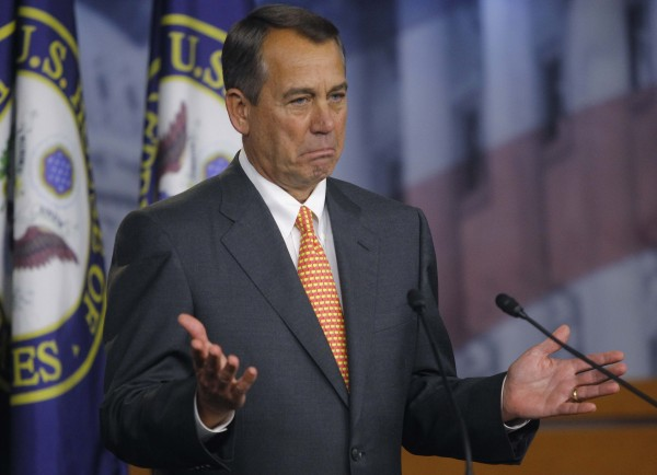 House Speaker John Boehner, R-Ohio, gestures during a news conference in the U.S. Capitol on March 21, 2013.