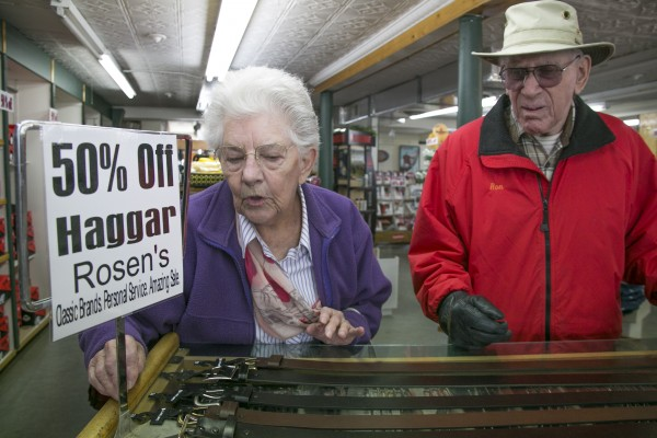 Ruby Fowler (left) and her husband, Dick, of Penobscot shop for belts at Rosen's Department Store on Friday, April 5, 2013. Rosen's is closing its doors after more than 100 years of business. Fowler said she has dressed her husband with clothes from Rosen's for years and is disappointed to see the store close. &quotI hate it because this is where I can get his pants,&quot Fowler said.